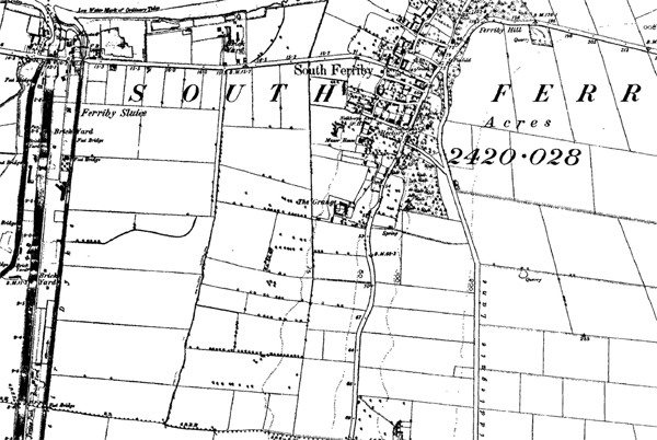 A historic map showing South Ferriby
